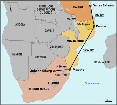 Carte des distances séparant Johannesburg - Maputo - Pemba - Dar es-Salaam